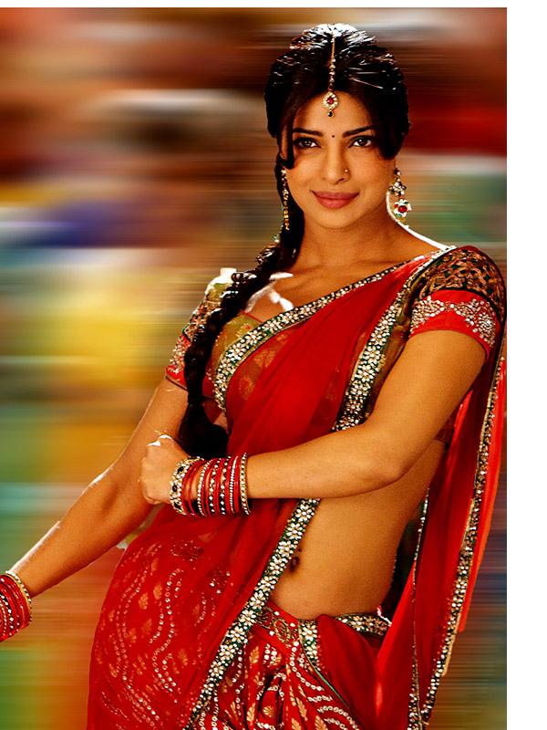 priyanka chopra in orange saree