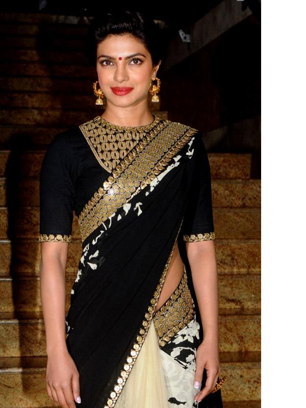 priyanka chopra backless saree
